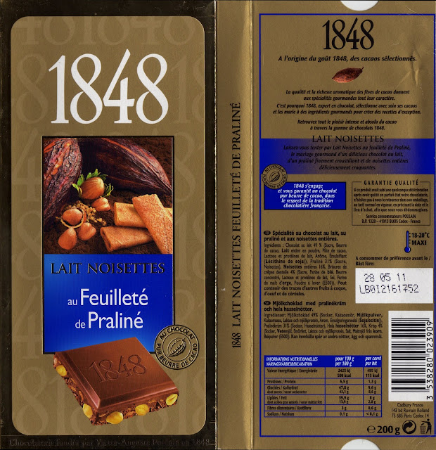 tablette de chocolat lait gourmand poulain 1848 lait noisettes au feuilleté de praliné
