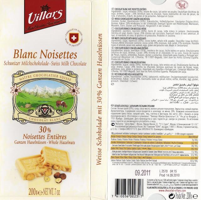 tablette de chocolat blanc gourmand villars blanc noisettes entières