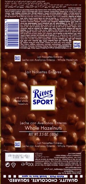 tablette de chocolat lait gourmand ritter sport lait noisettes entières
