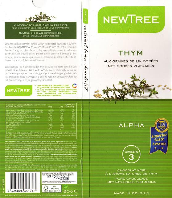 tablette de chocolat noir gourmand newtree thym aux graines de lin dorées alpha