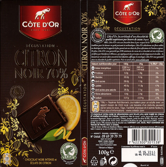 tablette de chocolat noir gourmand côte d'or citron noir 70
