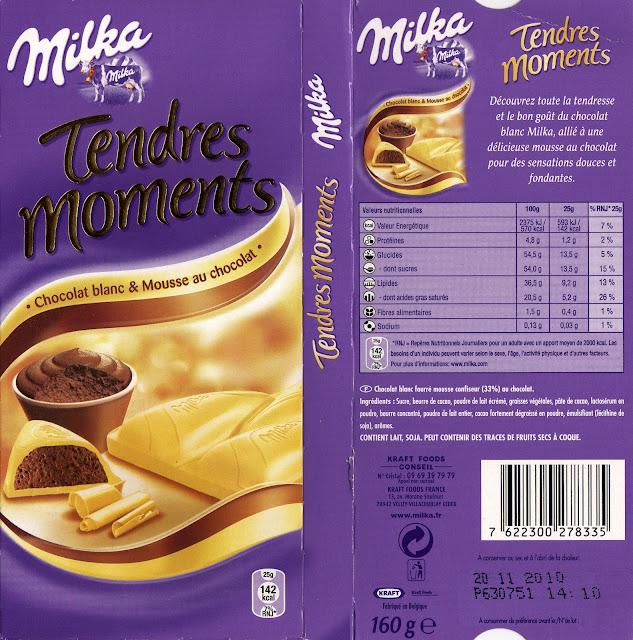 tablette de chocolat blanc fourré milka tendres moments chocolat blanc & mousse au chocolat