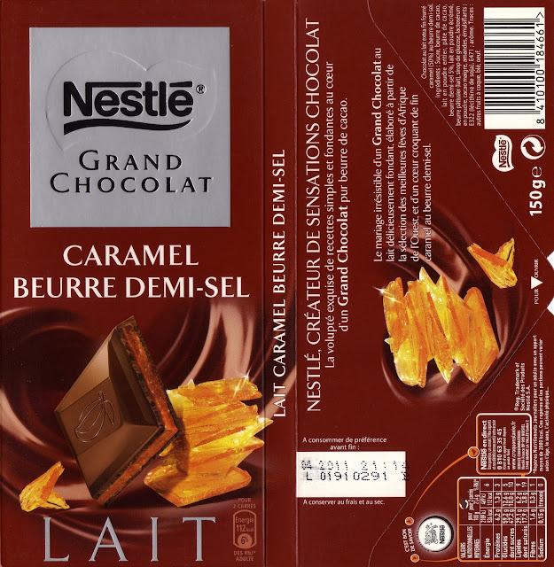 tablette de chocolat lait fourré nestlé grand chocolat caramel beurre demi-sel