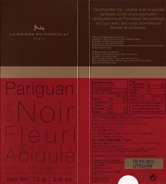 tablette de chocolat noir dégustation la maison du chocolat pariguan noir 69