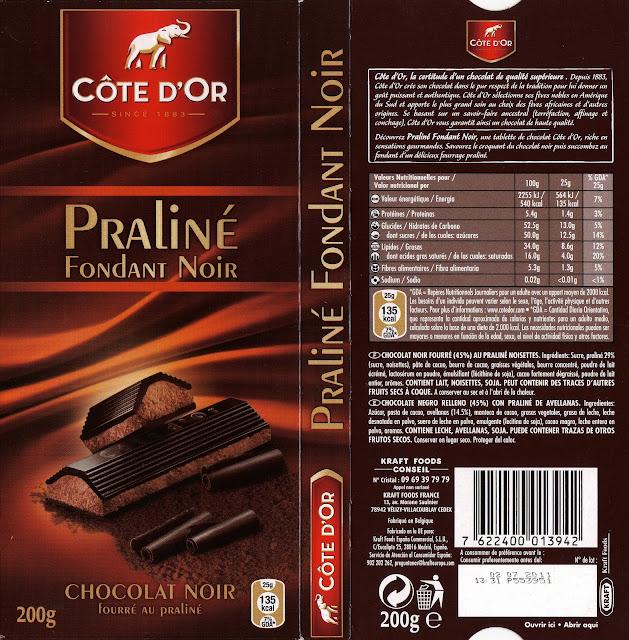 tablette de chocolat noir fourré côte d'or praliné fondant noir