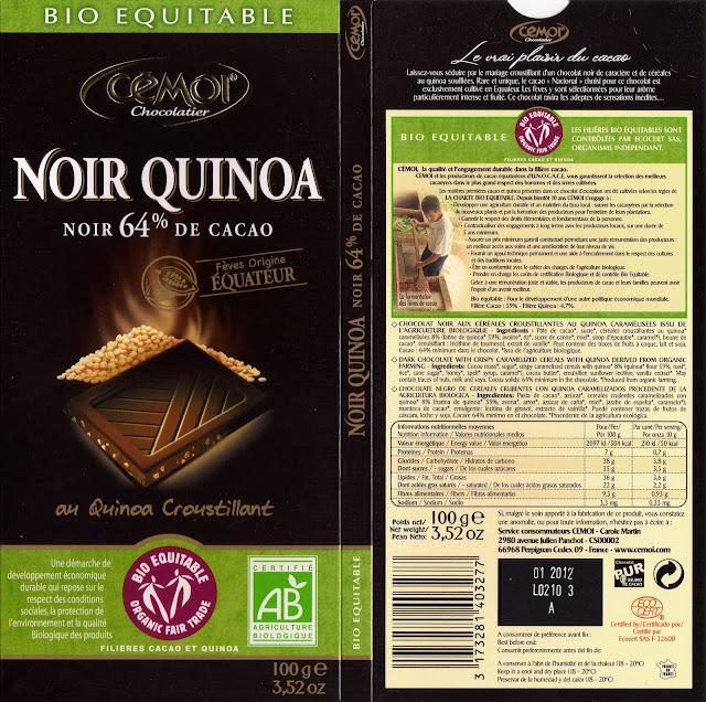 tablette de chocolat noir gourmand cémoi noir quinoa 64