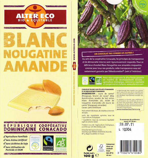 tablette de chocolat blanc gourmand alter eco république dominicaine blanc nougatine amande