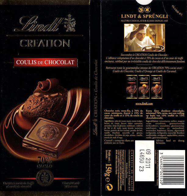 tablette de chocolat noir fourré lindt création coulis de chocolat