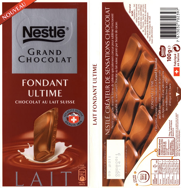 tablette de chocolat lait dégustation nestlé grand chocolat fondant ultime