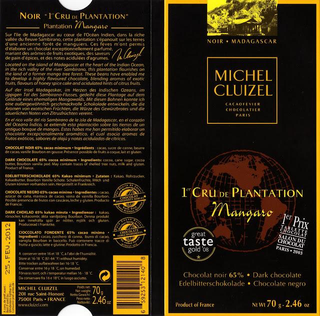 tablette de chocolat noir dégustation michel cluizel noir 1er cru de plantation mangaro