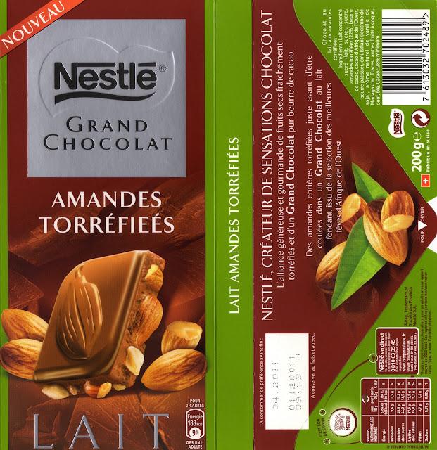 tablette de chocolat lait gourmand nestlé grand chocolat amandes torréfiées