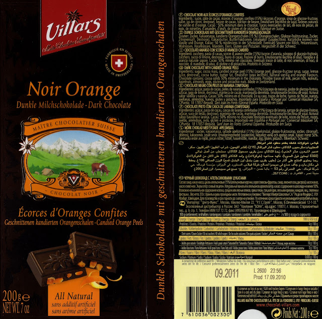 tablette de chocolat noir gourmand villars noir orange ecorces d'oranges confites