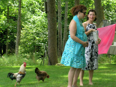 Lisa, her Friend Amy, and some Chickens
