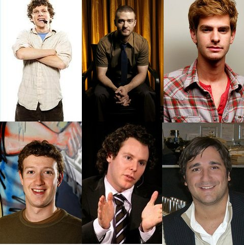 Bottom: the real deals, Mark Zuckerber, Sean Parker & Eduardo Saverin