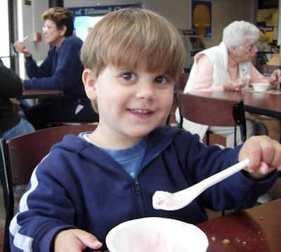 boy eating ice cream at the Tillamook Cheese Factory