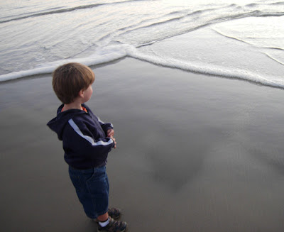 boy checking out the ocean