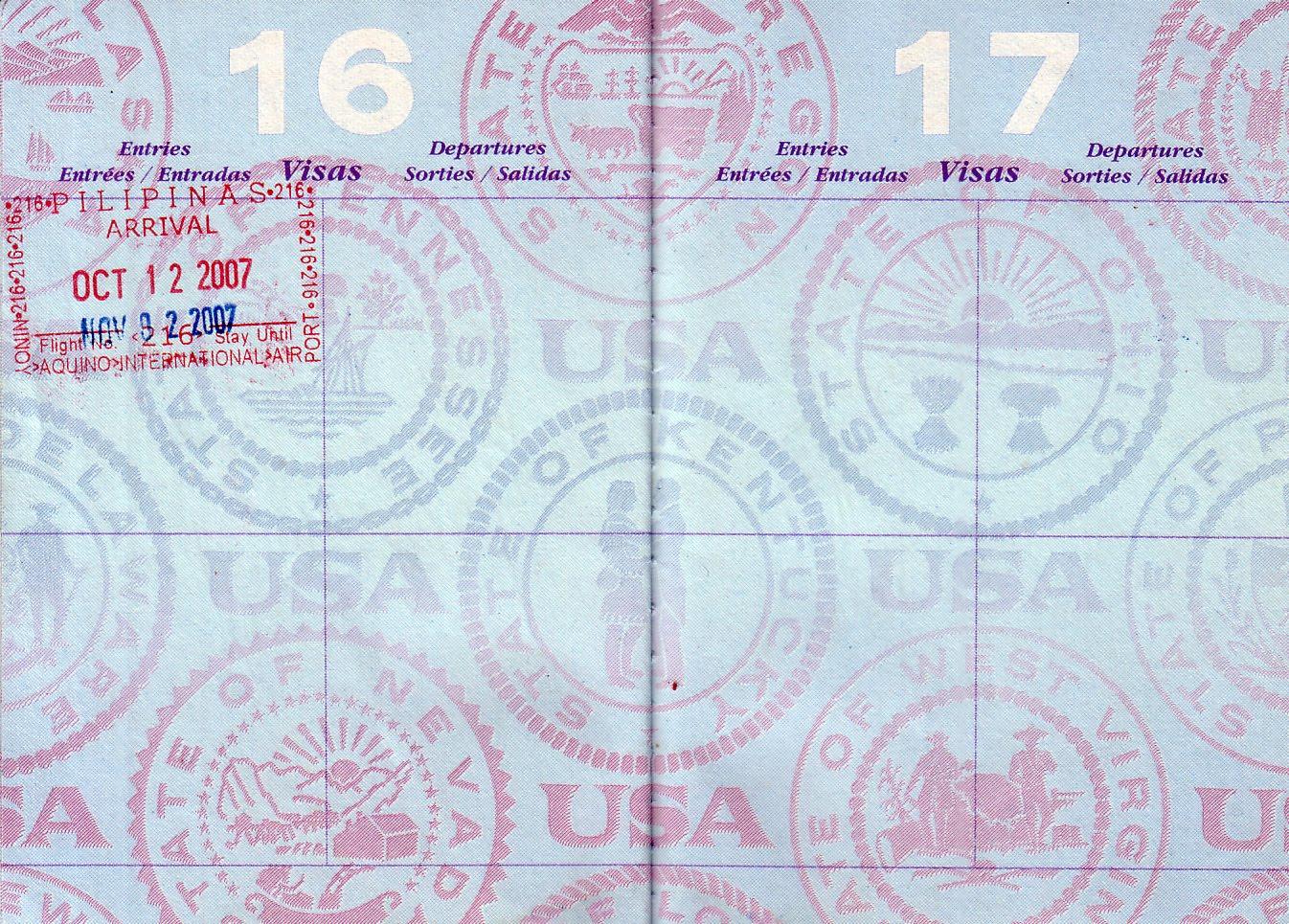 Blank passport stamp