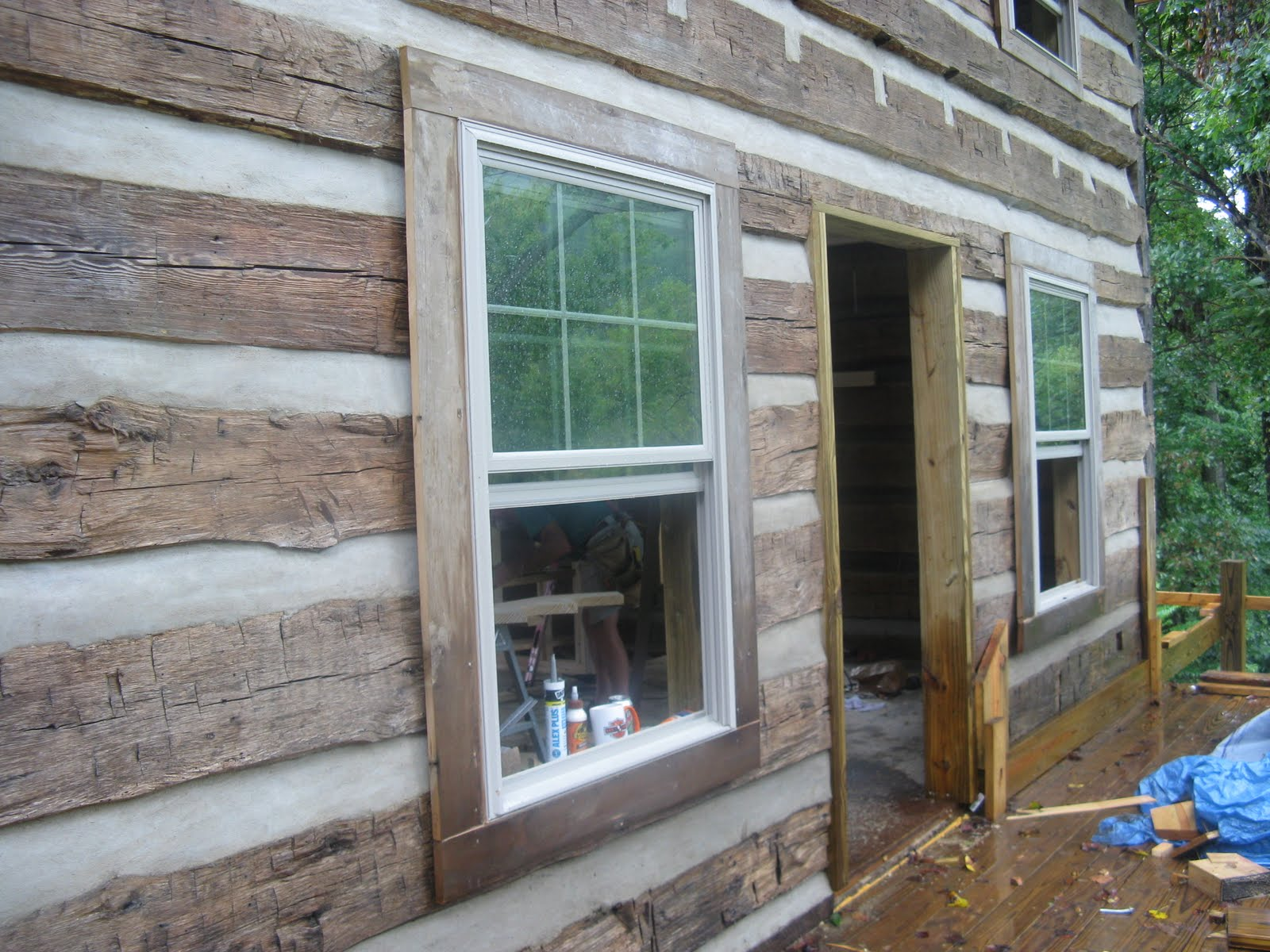 Old log cabin revival a hot tin roof for Log cabin window trim