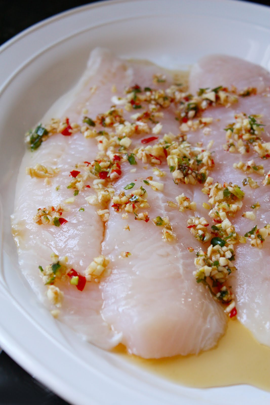 Steamed fish with lime garlic and chilies for Thai fish recipe