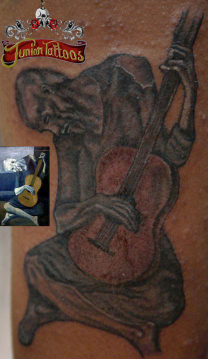 Picaso Old man guitar painting tattoo