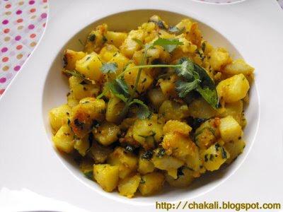 Puri Bhaji, Aloo Bhaji, Aloo Bhaji, Yellow Potato Bhaji
