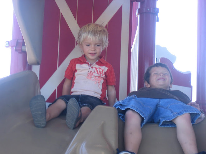 Kolton and Owen at the barn park