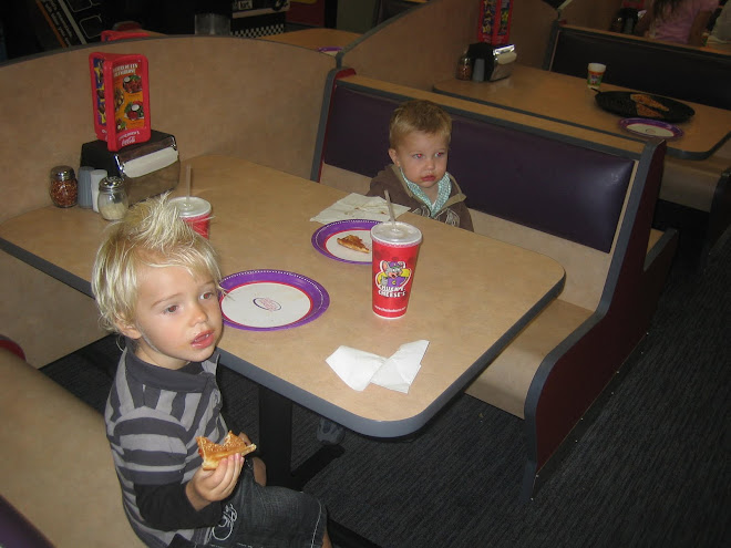 Chuck-E-Cheese with cousin Mac