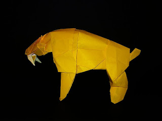 Origami saber toothed tiger
