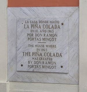 plaque commemorating Mignots as the creator of the Pina Colada drink