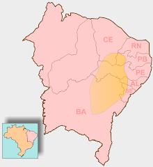 Mapa de atuação do cangaço