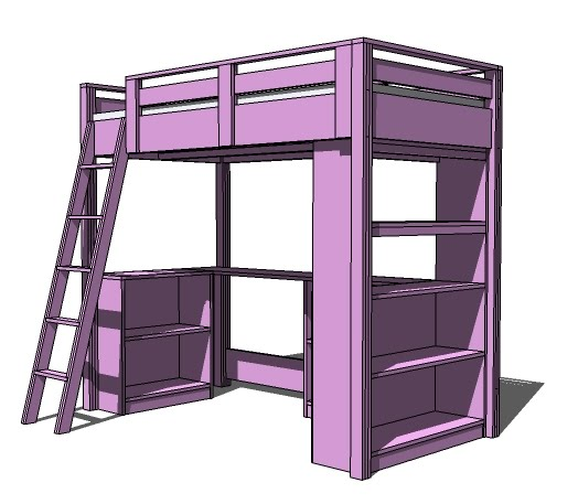 loft bed plans with bench