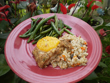 Orange roughty with Herbed Flax Topping and Risotto