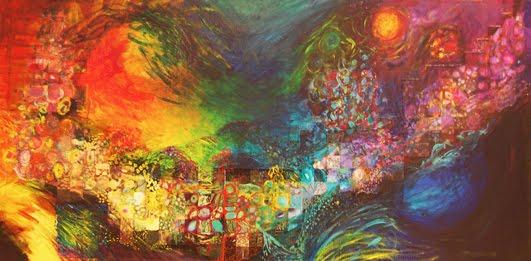 Pintura en acrílico y collage sobre tela hecha por Macarena Lolas