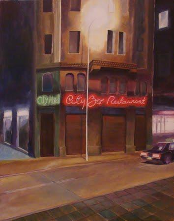 Acrílico sobre tela inspirado en una esquina de Santiago, por Augusto Buchholtz
