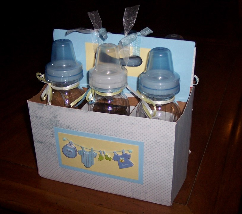 Cynde 39 s place boy baby shower for Baby bottles decoration