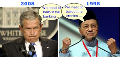 George Bush Mahathir asking for bailout
