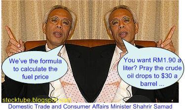 Shahril petrol price formula