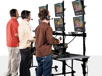 Puppeteers performing using the Henson Digital Performance Studio