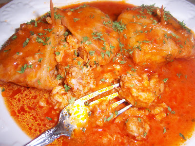 Italian Stuffed Cabbage Rolls with Tomato Sauce