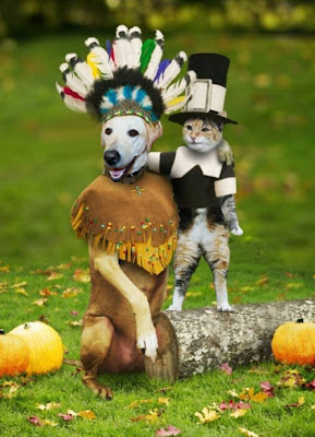 Cabana's head stuck into a photo of a dog dressed as an Indian, next to a cat dressed as a pilgrim