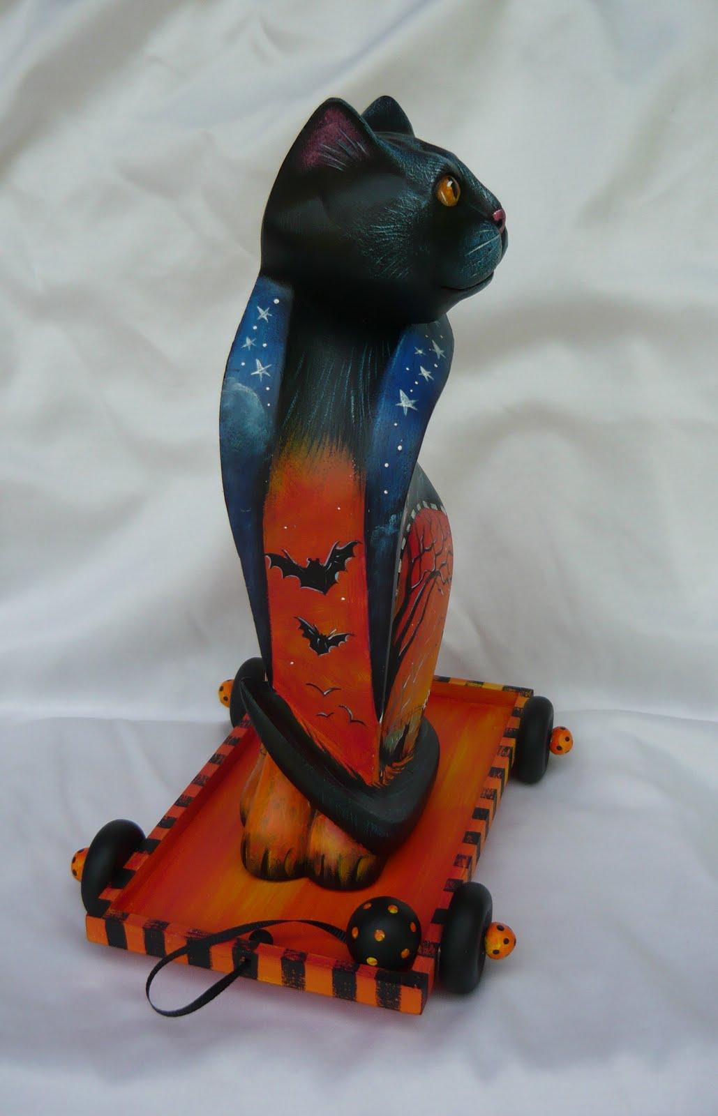 Cat Pulling Wagon : Halloween artists hp black cat pull cart on e bay next week