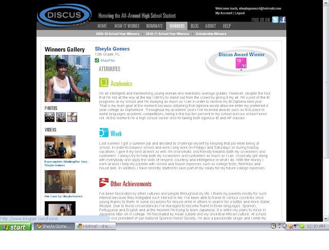 Sheyla Gomes - 12th Grade - FL - Discus Awards Winner