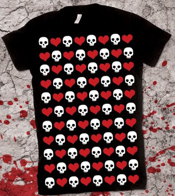 heart skull pattern shirt