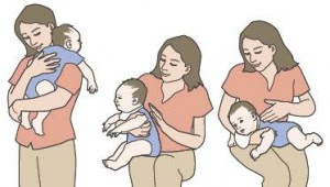 Burping baby positions