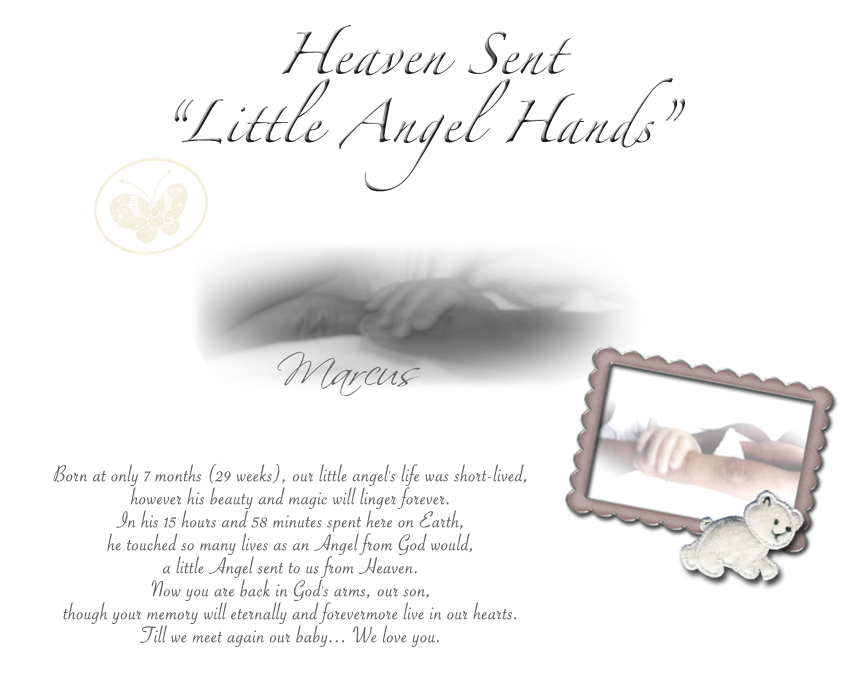 "Heaven Sent ""Little Angel Hands"""