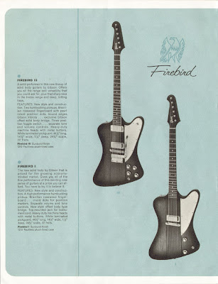 "Hetfield's new Firebird V guitar. In 1963 Gibson introduced the ""Gibson"