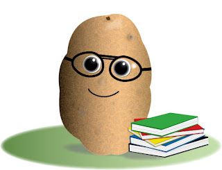 image of cartoon potato with glasses and a stack of books