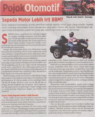 pojok otomotif sepeda motor lebih irit bbm