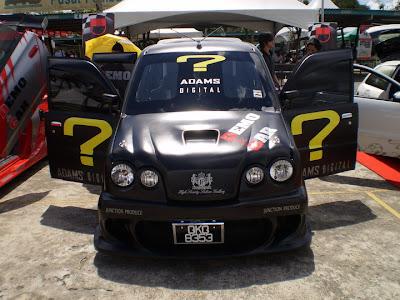 Matte black Perodua Kenari audio car