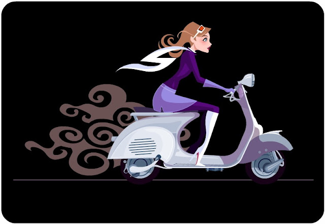 vector girl on vespa